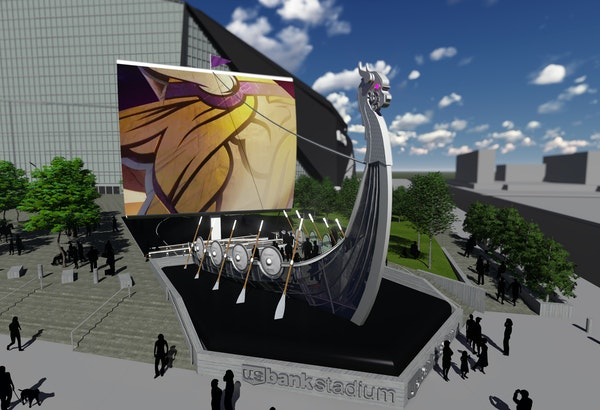 A rendition of the ship for the plaza of U.S. Bank Stadium. The sail will consist of a giant LED screen.