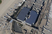 An aerial photo of the parking ramps showing where the solar arrays at Minneapolis-St. Paul International Airport.