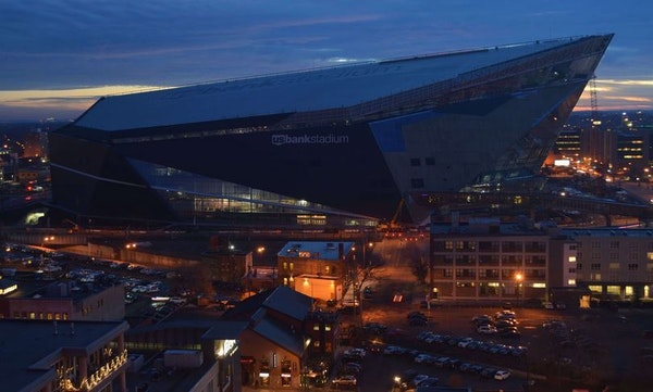The view of U.S. Bank Stadium from the camera at 5 p.m. Wednesday.