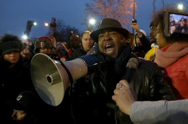 Pastor Brian Herron spoke to protesters last month in Minneapolis.