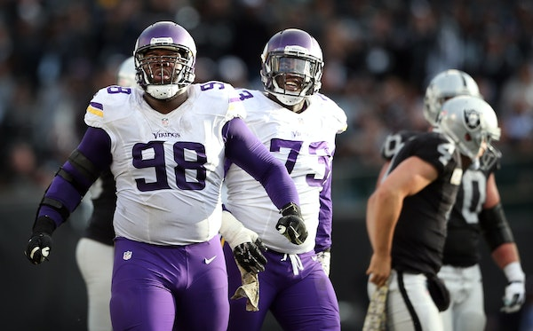 Linval Joseph (98) has had an excellent second season in a Vikings uniform, but he hasn't been able to play the past three games because of a foot i