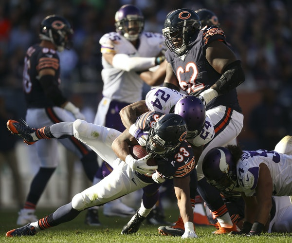 Cornerback Captain Munnerlyn wrapped up Bears running back Jeremy Langford for a short gain in a Vikings victory on Nov. 1 in Chicago.