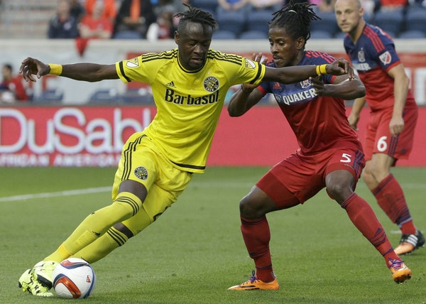 Crew forward Kei Kamara, left, will be difficult for the Timbers to stop on Sunday. He has 25 goals into the MLS Cup.