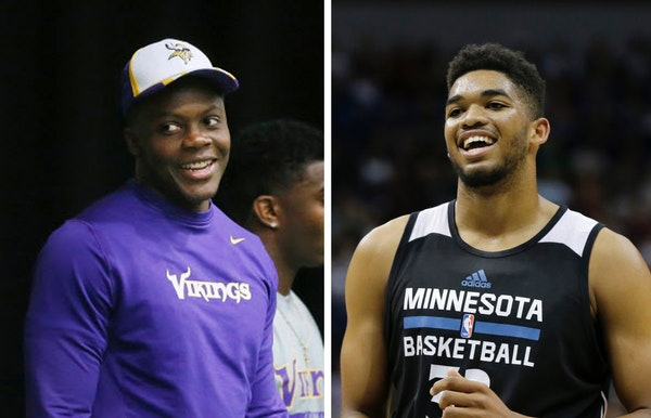 Teddy Bridgewater, left, and Karl Anthony Towns.
