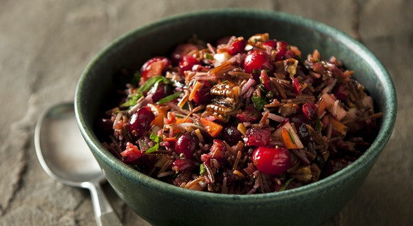 Wild Rice Salad with Fresh and Dried Cranberries in Maple Vinaigrette.
