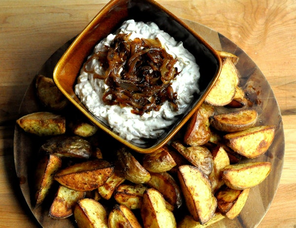 Caramelized Onion Dip with Roasted Potato Wedges