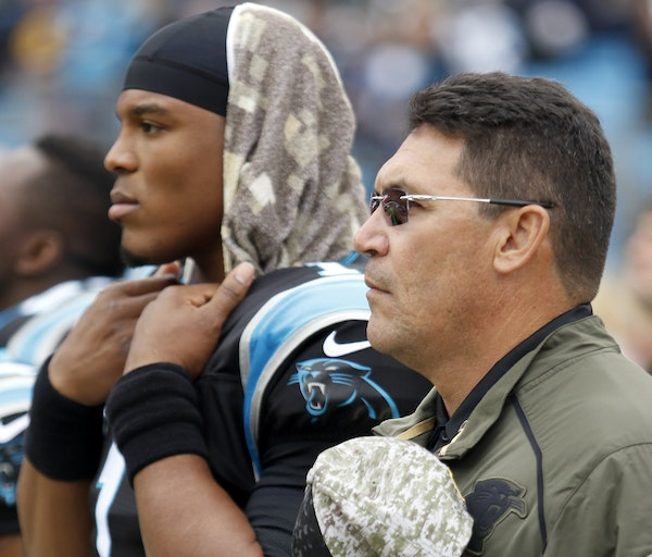 Carolina quarterback Cam Newton and coach Ron Rivera are two of the reasons the Panthers are undefeated. The Vikings have a similar pair in those same