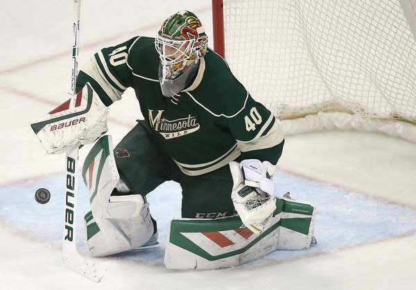 Devan Dubnyk made a save in the third period against the New York Rangers