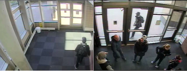 These University of Minnesota surveillance images show the suspect in a Nov. 21 robbery at the Carlson School of Management. On the right, he is the m