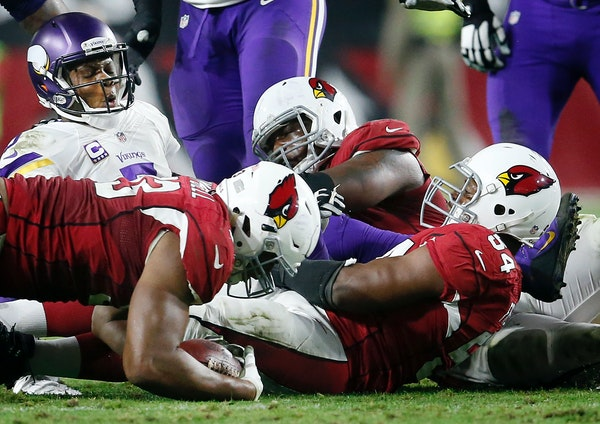 Calais Campbell recovered a Teddy Bridgewater fumble in the final seconds of the game Thursday in Arizona.