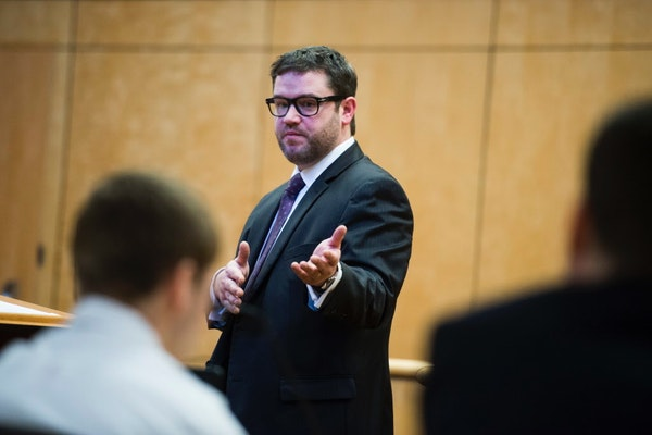 On Monday, defense attorney Eric Nelson spoke to jurors during opening statements in the trial of Levi Acre-Kendall.