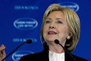 Democratic presidential candidate Hillary Clinton speaks at Saban Forum 2015 in Washington, Sunday, Dec. 6, 2015. (AP Photo/Jose Luis Magana)