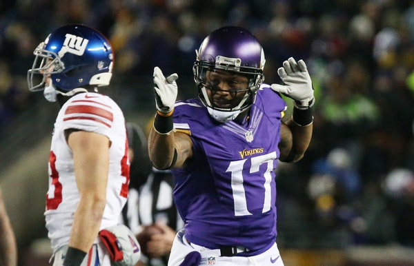 Vikings wide receiver Jarius Wright, celebrating a reception, helped victimize a shaky Giants defense. Wright had a pair of third-down catches in the