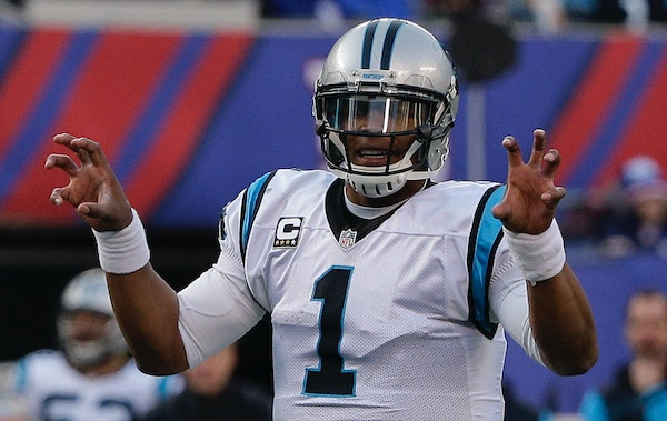 Quarterback Cam Newton and the Panthers are two wins from a 16-0 season.