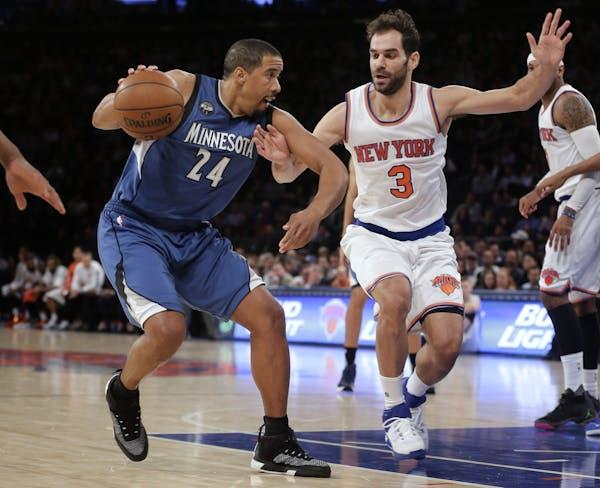 Minnesota Timberwolves guard Andre Miller (24) drives against New York Knicks guard Jose Calderon (3) during the first quarter of an NBA basketball ga