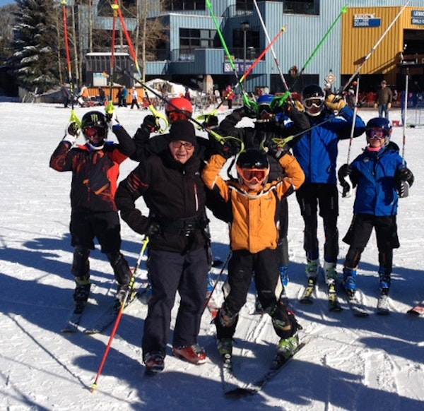 Ski coach Erich Sailer, front row left, is shown recently with some of his young charges in Colorado. Sailer said he loves working with young people.