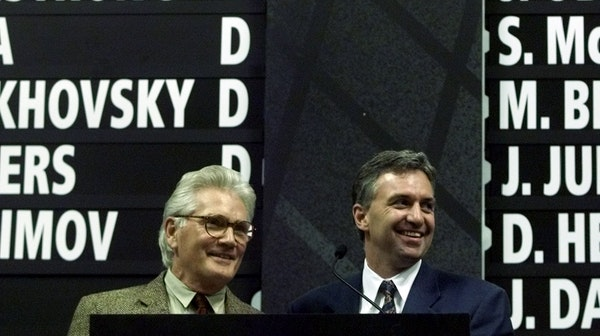 Wild GM Doug Risebrough, right, and Chairman Robert Naegele saw their planning pay off in the June 2000 expansion draft.