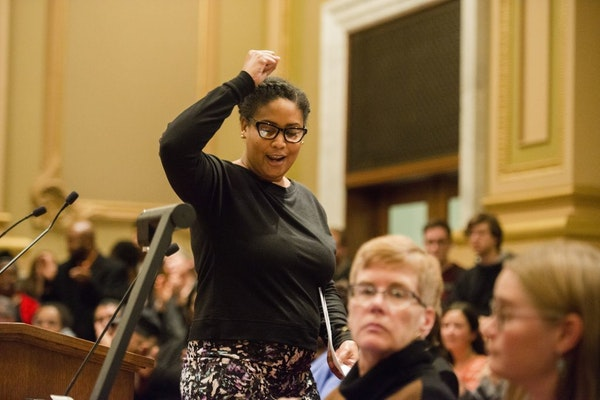 """Raeisha Williams led observers in a chant of """"we ready, we coming"""" at the close of her comments Wednesday night at the Minneapolis City Council budget"""