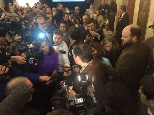Media scrum surrounds Ted Cruz during an appearance at Harriet Pavilion Thursday.
