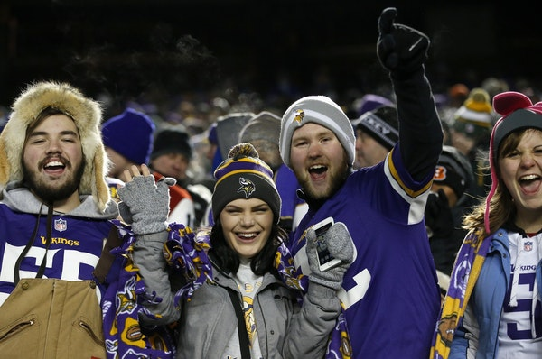 Minnesota Vikings fans cheered in the second half.
