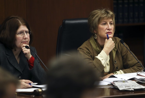 Minnesota Senator Kathy Sheran, right, and House member Tina Liebling, left, of the House Health and Human Services Policy Committee and Senate Health