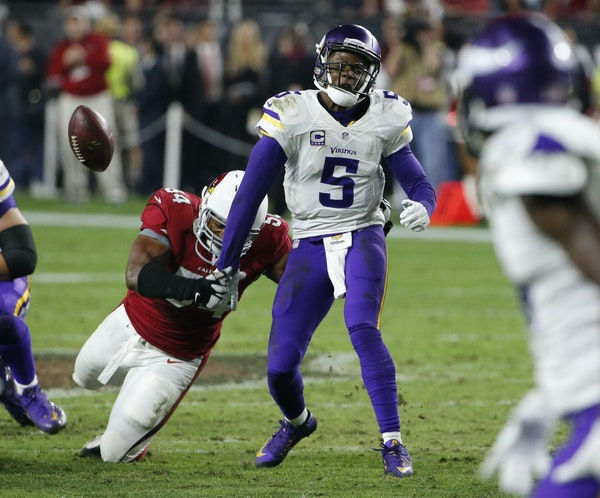 Teddy Bridgewater's fumble, forced by the Cardinals' Dwight Freeney, lost the Vikings a chance at a game-tying field goal Thursday.