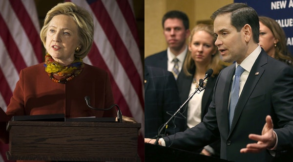 Marco Rubio and Hillary Clinton at respective Minnesota campaign stops.