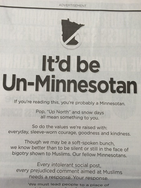 Feb. 1: Minnesota leaders' full-page ad decries bigotry toward Muslims