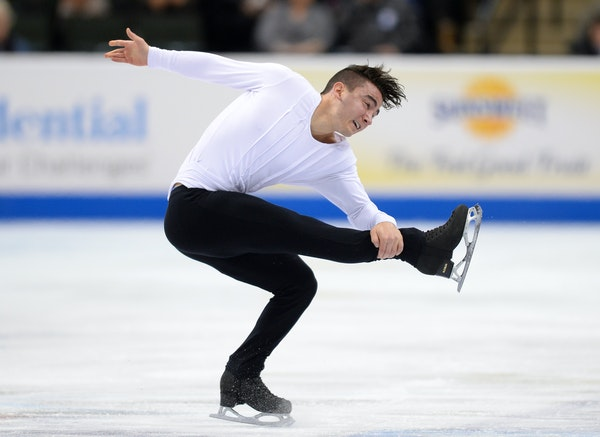 """Max Aaron spun — """"fought"""" was the word he used — his way through the men's short program Friday. He placed first with a score of 91.83."""
