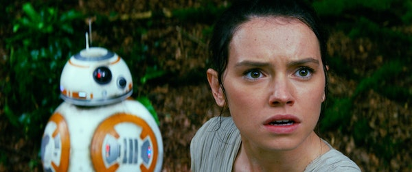 """Daisy Ridley stars as Rey, with BB-8, in a scene from """"Star Wars: The Force Awakens."""" She arguably is the film's main character but has been excluded"""
