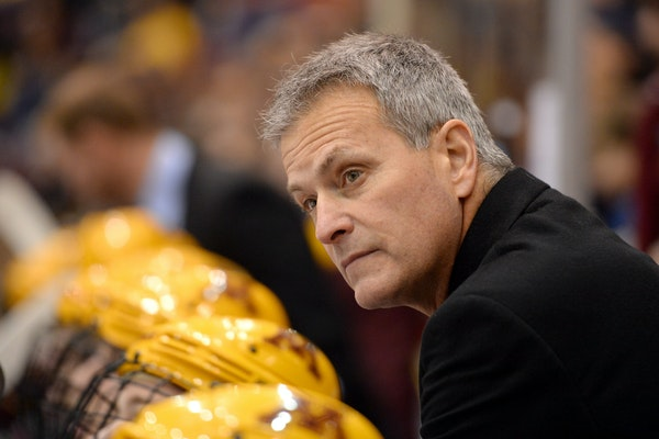 Minnesota Golden Gophers head coach Don Lucia watched the game during the third period. ] (AARON LAVINSKY/STAR TRIBUNE) aaron.lavinsky@startribune.com