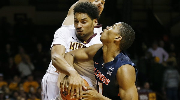 The Gophers' Jordan Murphy fouled Illini guard Malcolm Hill in the first half last Saturday – a common issue for the freshman.