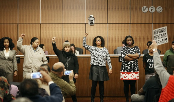 In the midst of a motion to select interim superintendent Michael Goar as the board's preferred candidate, protestors shut down the school board mee