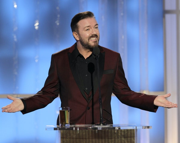 Ricky Gervais at the 69th Annual Golden Globe Awards on Jan. 15, 2012, in Los Angeles.
