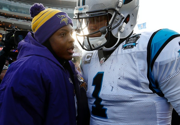 Vikings quarterback Teddy Bridgewater, left, and Panthers quarterback Cam Newton spoke at the end of the game in November of 2014.