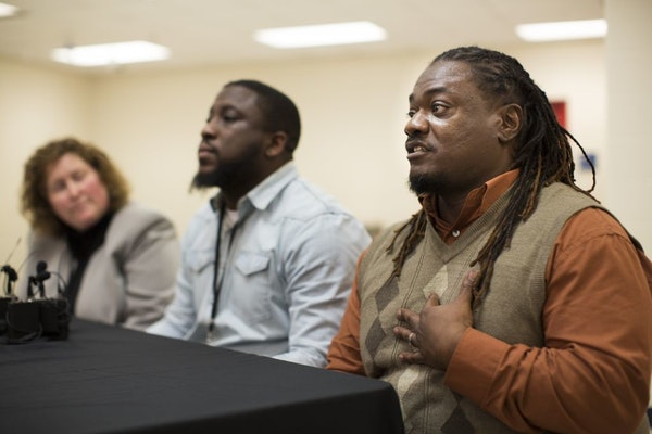 Harrison social worker Jimmie Peterson spoke at Thursday's news conference, saying that what he does comes from the heart.