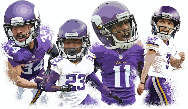 From left, Andrew Sendejo, Terence Newman, Mike Wallace and Blair Walsh.