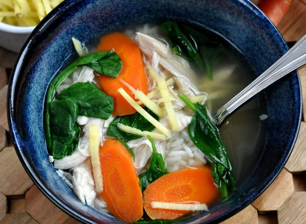 Ginger Chicken and Rice Soup
