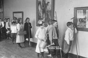 Students viewed artwork at Thomas Lowry Elementary in Minneapolis, shortly after the school opened in 1916.