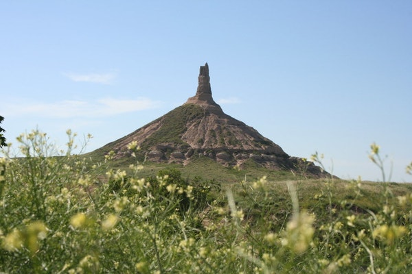Chimney Rock near Bayard is an excellent example of how water and wind erode the earth.