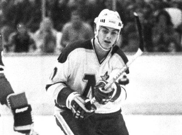Tom McCarthy is shown during a 1984 game with the North Stars.
