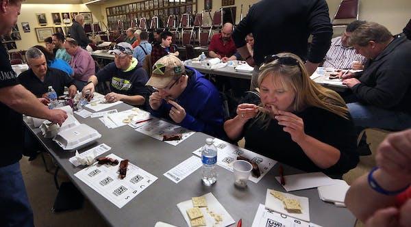 Prospective BBQ judges taste pork ribs during the certification class. ] JIM GEHRZ ï james.gehrz@startribune.com / Owatonna, MN / March 28, 2015 /12: