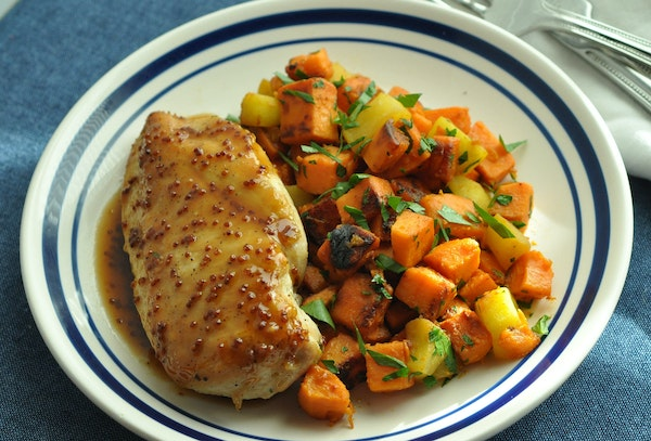 Cider and Mustard Glazed Chicken Breasts with Sautéed Sweet Potatoes and Apples.
