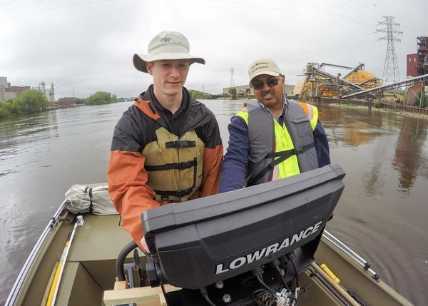 Researchers Brian Jastram, left, and Udai Singh mapped the underwater topography of the Mississippi River's upper reaches in Minneapolis. The 18-mil