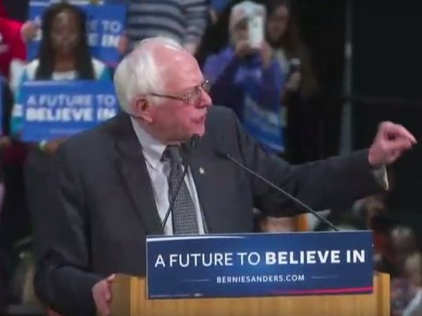 Vermont Sen. Bernie Sanders took the stage Tuesday night at St. Paul's RiverCentre for a packed rally.