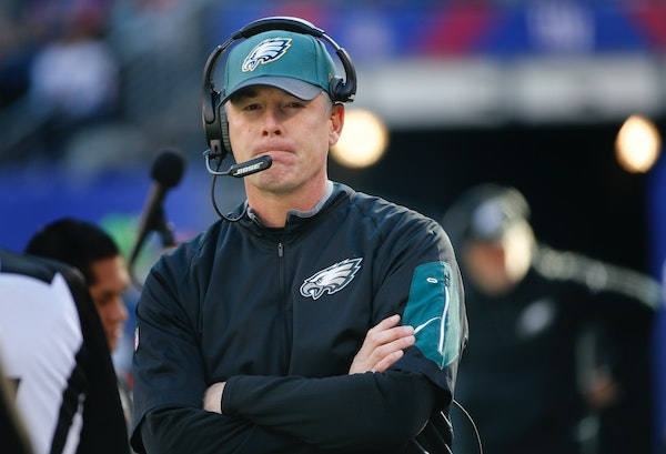 Philadelphia Eagles interim head coach Pat Shurmur watches play from the sidelines during an NFL football game against the New York Giants, Sunday, Ja