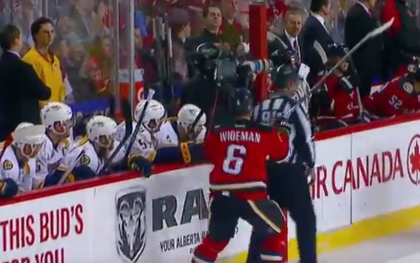 NHL linesman gets cross-checked by player — on purpose?