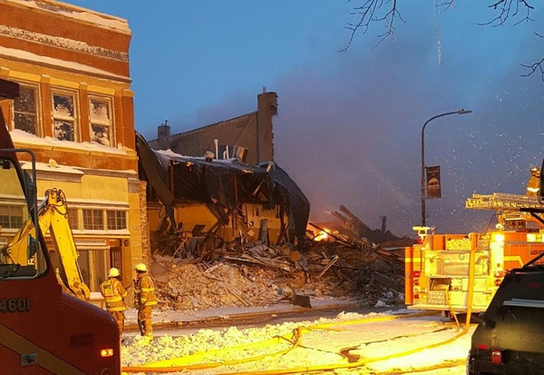 The fire may have been sparked by an explosion about 3 a.m. Wednesday. No one was killed or injured.