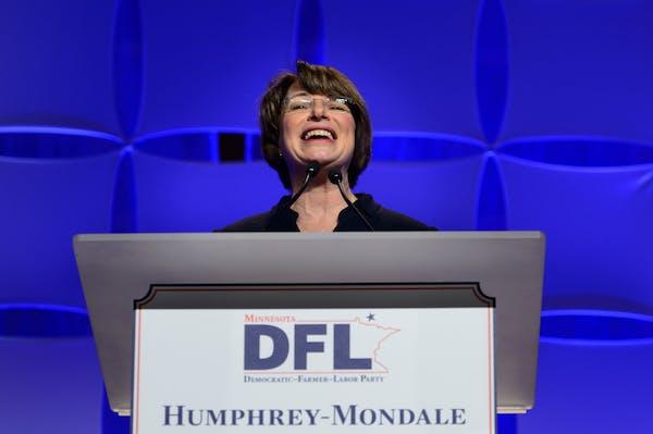 Senator Amy Klobuchar addressed the crowd at the Fifth Annual Minnesota DFL Humphrey-Mondale Dinner in the St. Paul RiverCentre on Friday, Feb. 12, 20