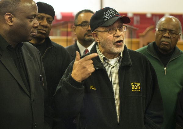 Former St. Paul NAACP President Nick Khaliq joined other black leaders at New Hope Baptist Church on Monday.